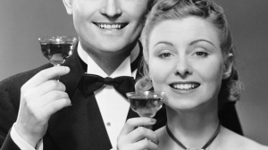 Couple w/ champagne glasses
